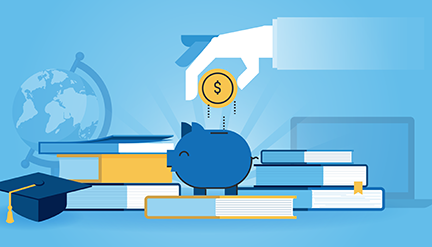 College savings illustration of a hand dropping a coin into a piggy bank surrounded by books and a mortar board graduation cap