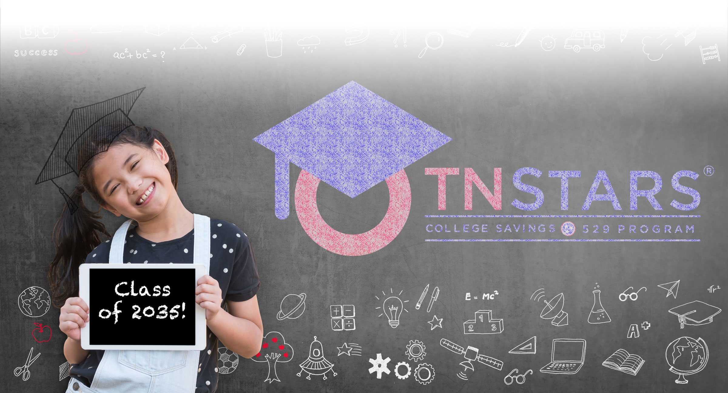 Young female child with graduation cap and class of 2035 on an ipad, TNStars logo written in chalk on chalkboard